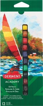 Derwent olieverf Academy , 12 ml, blister van 12 tubes in geassorteerde kleuren