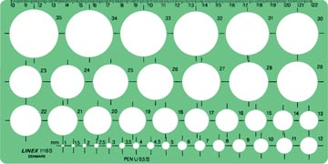 Linex cirkelsjabloon 1 - 35 mm, met 39 cirkels en milimeteruitlijning